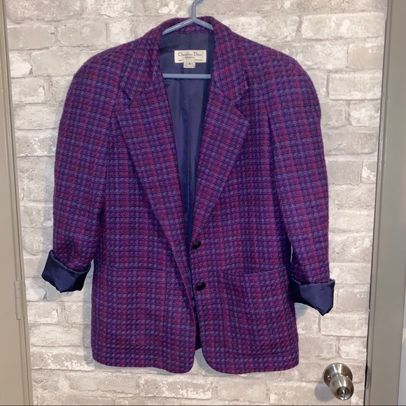 Christian Dior vintage tweed wool blazer sz 4